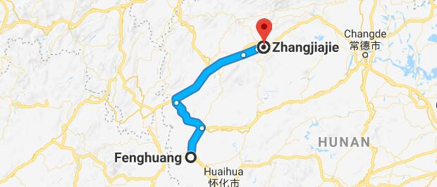 Zhangjiajie Fenghuang tour map