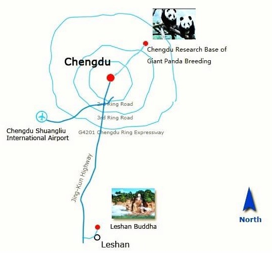 Chengdu Panda Base and Leshan Giant Buddha Map