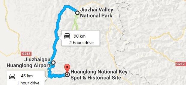 jiuzhaigou map