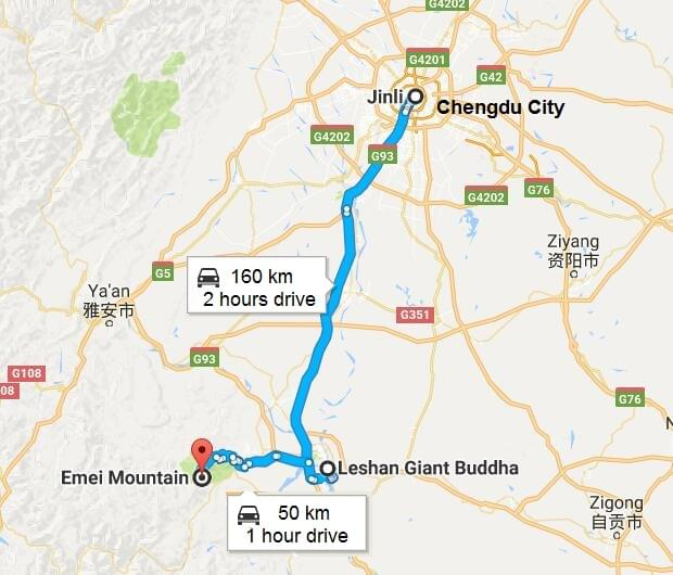 emeishan leshan tour map