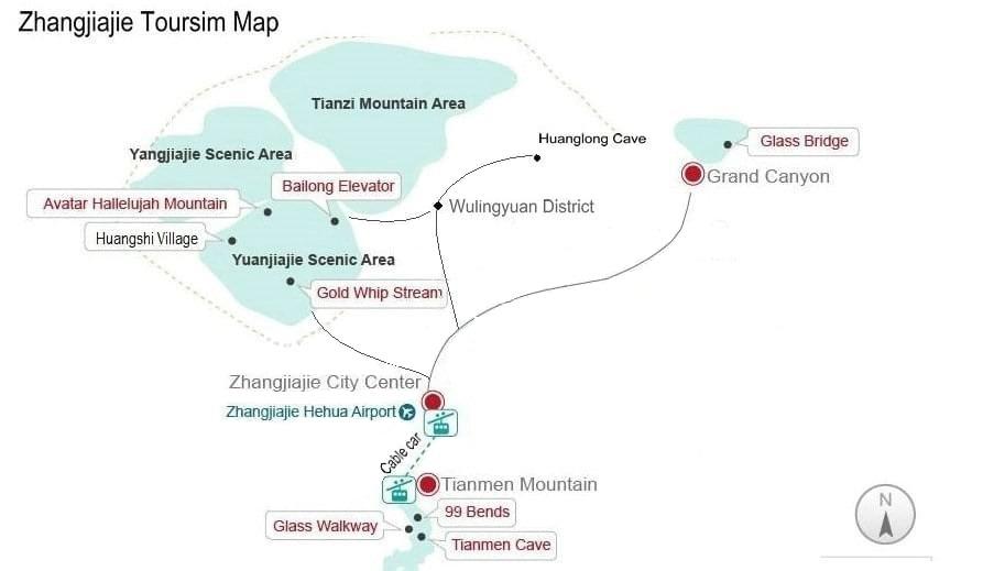 Zhangjiajie Tourist Map