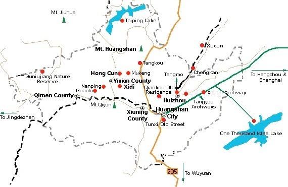 Huangshan Tour Map