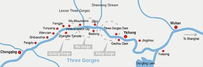Yangtze River Cruise Map