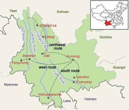 Yunnan tour map