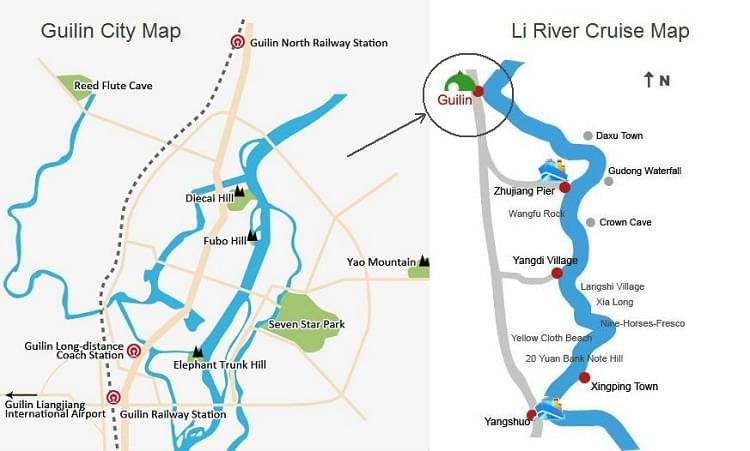 guilin and li river map