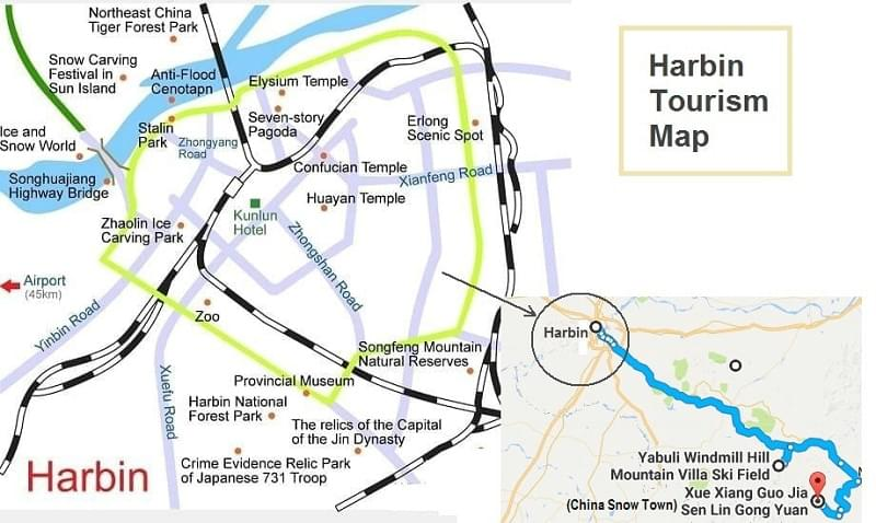Harbin Tourism Map