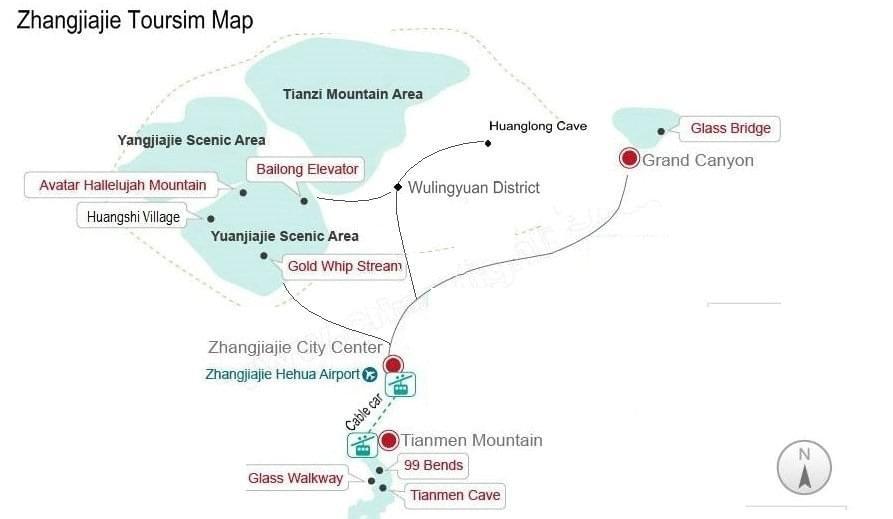 zhangjiajie map