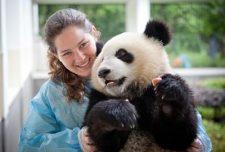 taking photos with panda