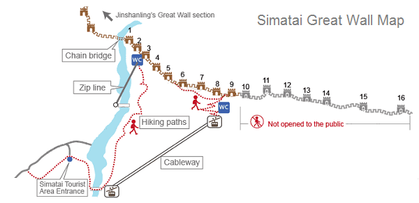 Simatai Great Wall Map