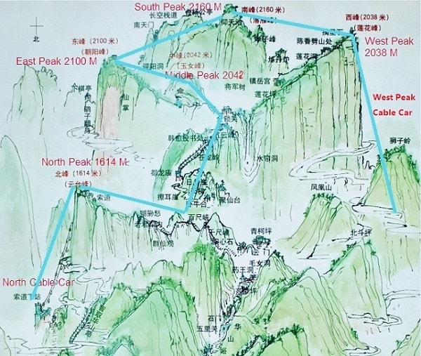 Huashan Hiking Route Map