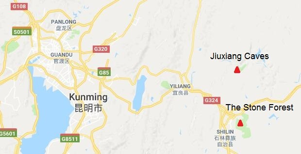 Kunming Stone Forest and Jiuxiang Caves Map