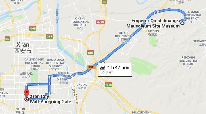 Terracotta Warriors and Xian City Wall tour map